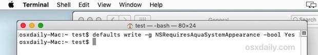 """Esegui il comando del terminale per regolare il comportamento in modalità oscura per influire sulla barra dei menu e sul dock solo """"width ="""" 610 """"height ="""" 107 """"class ="""" aligncenter size-large wp-image-78729 """"/> </p> <li> Apri il menu  Apple e seleziona """"Disconnetti"""", quindi, dopo aver effettuato il logout, accedi nuovamente allo stesso account utente </li> <li> Torna al menu  Apple e seleziona """"Preferenze di Sistema"""" e torna al pannello delle preferenze """"Generale"""" </li> <li> Nella sezione """"Aspetto"""", scegli """"Scuro"""" per cambiare solo la barra dei menu e il Dock in modo da renderli scuri </li> <p> <img src="""